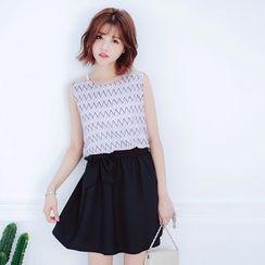 Tokyo Fashion - Sleeveless Patterned Dress