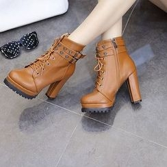 Monde - Chunky Heel Lace-Up Studded Short Boots