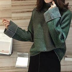 Little V - Striped Turtleneck Sweater