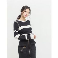 GUMZZI - Contrast-Trim Cable-Knit Top