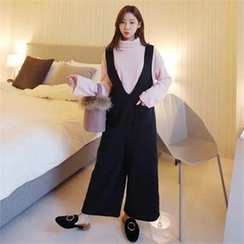 QNIGIRLS - Deep V-Neck Wide-Leg Jumpsuit