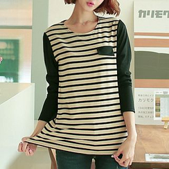 CLICK - Color-Block Stripe T-Shirt