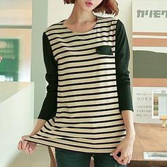 CLICK - Color-Block Stripe T-Shirt