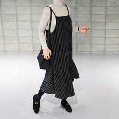 STYLEBYYAM - Sleeveless Ruffle-Hem Pinstripe Dress