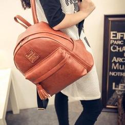 Seok - Faux Leather Fringed Backpack