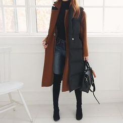 DABAGIRL - Stand-Collar Duck-Down Long Puffer Vest