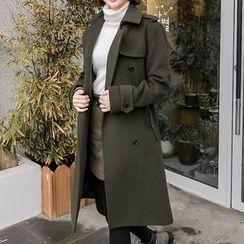 Seoul Fashion - Epaulet Trench Coat with Sash