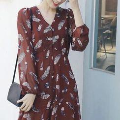 mimi&didi - Half-Placket Patterned Long Dress