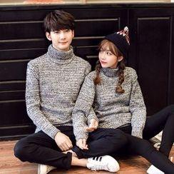 Simpair - Couple Matching Turtleneck Melange Sweater