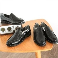 GLAM12 - Stud-Trim Penny Loafers