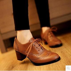 Gizmal Boots - Chunky Heel Oxford Pumps
