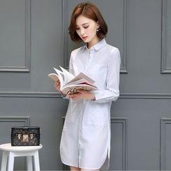 Hazie - Fleece-Lined Long Shirt