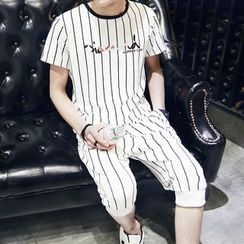 uninukoo - Set : Pinstriped Short-Sleeve T-shirt + Capri Pants