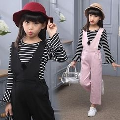 Pegasus - Kids Set: Striped Long Sleeve Top + Pompom Pinafore Jumpsuit