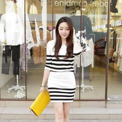 Cherryville - Set: 3/4-Sleeve Striped Knit Top + Knit Mini Skirt