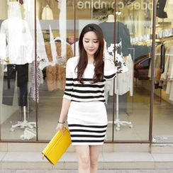 Cherryville - Set: Striped Knit Sweater + Skirt