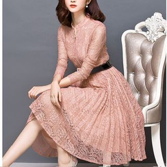 Lavogo - Long-Sleeve Midi Lace Dress