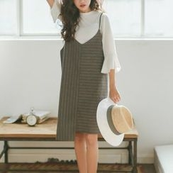 SUYISODA - Pinstriped Asymmetric Hem Pinafore Dress