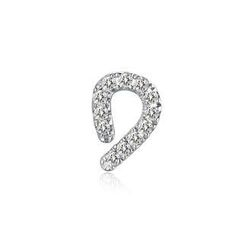 MBLife.com - Left Right Accessory - 9K White Gold Initial 'D' Pave Diamond Single Stud Earring (0.03cttw)