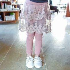 CUBS - Kids Inset Lace Skirt Leggings