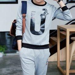 Danjieshi - Set: Print Pullover + Sweatpants