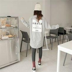 clicknme - Lettering Brushed-Fleece Lined T-Shirt Dress