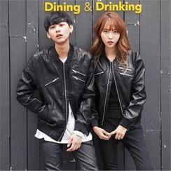 TOMONARI - Couple Faux-Leather Zip Jacket