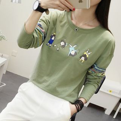 SimplyMe - Long-Sleeve Print T-Shirt