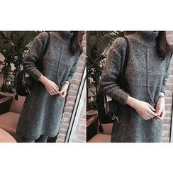DAILY LOOK - Pocket-Detail Wool Blend Knit Dress