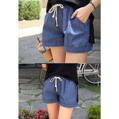 REDOPIN - Linen Blend Drawstring-Waist Shorts