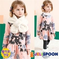 JELISPOON - Girls Lace-Collared Flower Patterned Dress