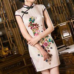 Bridal Workshop - Floral Print Cap-Sleeve Qipao