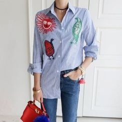 EFO - Embroidery Pinstripe Blouse