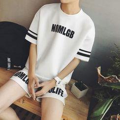 ZZP HOMME - Set: Lettering Neoprene Short-Sleeve T-Shirt + Lettering Shorts