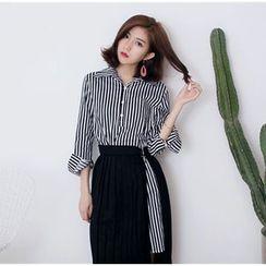 November Rain - Set: Striped Long Sleeve Shirt Dress + Pleated Skirt