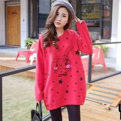 YoungBaby - Rabbit-Print Loose-Fit Long Top