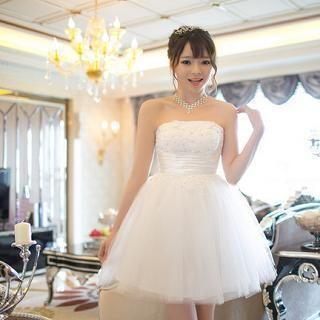 Luxury Style - Strapless Rhinestone A-Line Bridesmaid Dress