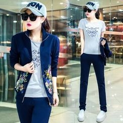 belle epoque - Set: Floral Print Zip Jacket + Printed Short Sleeve T-Shirt + Sweatpants
