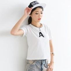 SO Central - Short-Sleeve Letter 'A' Print Top