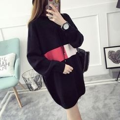 Qimi - Color Block Hooded Long Sweater