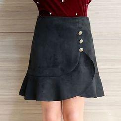 Hennson - Ruffle Trim A-line Skirt