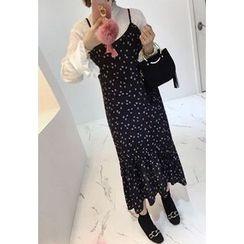 Miamasvin - Spaghetti-Strap Frill-Hem Patterned Long Dress