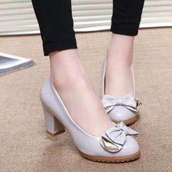 HOONA - 水钻粗跟高跟鞋