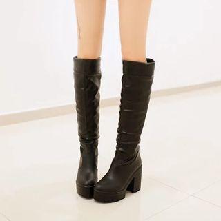Shoes Galore - Platform Block Heel Tall Boots