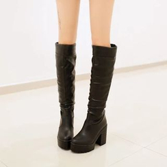 Shoes Galore - Platform Block Heel Tall Boots
