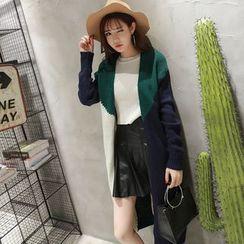 QZ Lady - Color Block Long Cardigan