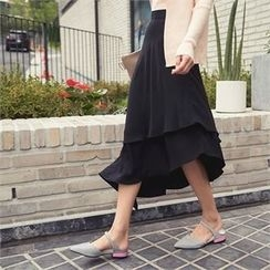 ERANZI - Asymmetric Tiered-Hem Long Skirt