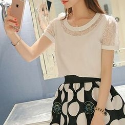 Q.C.T - Short-Sleeve Lace Panel Chiffon Top