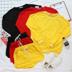 CaraMelody - Set: Plain Pullover + Drawstring Shorts