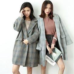 Hanme - Plaid Loose-Fit Tweed Coat